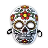 If you're looking for a colorful Day of the Dead Mask, there's no need to look any further!This particular mask has shades of white, green, red, yellow and black on it! Attached elastic strap for secure fit and fabric covering gives the mask added comfort