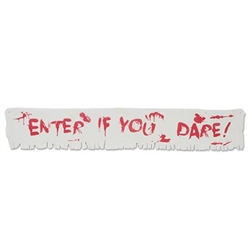 The Enter If You Dare! Fabric Banner is perfect for any Halloween or Zombie decor. The natural fabric banner features a red Enter if you Dare phrase, printed to resemble blood stained letters. One banner per pkg. Measures 12 inches tall and 6 foot long.