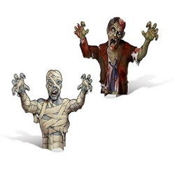 A bloody zombie and scary mummy are printed on cardstock material and measure 18 inches tall.  Great for placing on your tables to give guest a fright. Comes with two centerpieces per package, one of each design. Siimple assembly required.