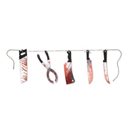 The Bloody Knives String Banner will add a touch of gore to your Halloween decor! Printed card stock blades feature realistic blood stains and hang from a jute string. Blades vary in width and measure approximately 11 inches long. One 6-ft banner per pkg.
