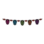This Day Of The Dead Sugar Skull Streamer is the perfect accessory for your next Day of the Dead event. Each 12 foot streamer contains 5 printed card stock sugar skulls and 6 printed card stock roses. Simple assembly required.