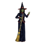 The Jointed Witch is a cardstock cutout that measures 6 feet 2 inches tall. A separate card stock broom is included, which measures over 4 feet tall. Printed on one side, this is the perfect accessory for creating that scary Halloween entrance.