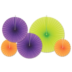 These Accordion Paper Fans will add a splash of color anywhere you put them. There are a total of five pieces in the package, including two orange fans, two purple fans and one green fan,  measuring eight inches, 12 inches and 16 inches respectively.