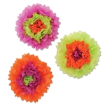 these lime green Assorted Tissue Flowers will blossom into your favorite decoration. Each tissue flower has some orange, purple and lime green it, with each flower having a different arrangement. Each tissue flower measures 10 inches and comes 3 per pack.