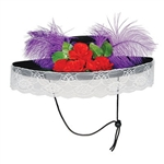 The Felt Catrina Hat is covered in black felt and decorated with red roses and leaves with two purple plumes and lace around the brim. Has an inside circumference of 22 inches. One size fits most. One per package. No returns.