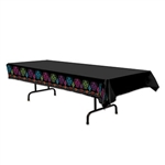 The Day Of The Dead Tablecover is a necessary decoration for your buffet or serving tables. Black plastic is accented with colorful designs of sugar skulls and flowers along each side. Printed one side. One table cover per package.