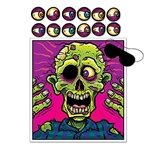 The Pin The Eyeball Zombie Game contains 14 pieces: 1 zombie picture, 1 blindfold mask, and 12 numbered eyeballs. Made of printed paper. A spin on the classic blindfold game where players pin the eyeball closest to the eye socket.