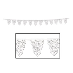 The Spider Web Die-Cut Pennant Banner features intricately cut white paper pennants attached to a 15-foot, white satin ribbon. Pennants look like spider webs and come pre-strung. Pennants measure 9.5 inches long by 7.5 inches wide. One banner per pkg.