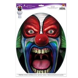 The Under The Lid Scary Clown Peel 'N Place is easy to use, removable, and adheres to most smooth surfaces. The clown measures 11 1/2 inches wide and 13 3/4 inches tall. Contains one sheet per package. Temporary use only.