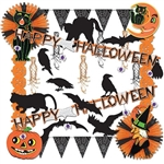 Use the Halloween Trimorama to quickly and easily decorate any area with an assortment of Halloween themed garlands, cut outs, and tissue fans. Each kit contains over 20 ready-to-hang pieces!  Classic black and orange color scheme!