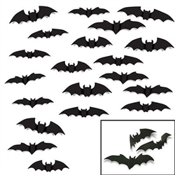 The Bat Silhouettes are made of cardstock and printed on two sides. Each package contains (8) measuring 10 inches, (10) measuring 12 inches, and (2) measuring 14 inches. Contains a total of twenty (20) per package.