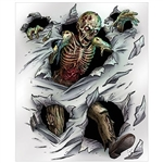 The Zombie Insta-Mural is made of plastic and measures 5 feet by 6 feet. Features a zombie shredding through the wall or door with its insides exposed. Can be used both indoors and outdoors. Complete wall decorations. Contains one (1) per package.