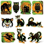 The Vintage Halloween Fluorescent Cutouts are made of cardstock and printed on two sides. Sizes range in measurement from 8 1/2 inches to 13 3/4 inches. Contains (10) per package. Simple assembly required.
