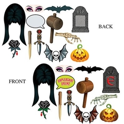 The Elvira Photo Fun Signs are made of cardstock and printed on two sides. Sizes range in measurement from 7 inches to 16 inches. Contains 12 pieces per package.