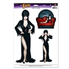 The Elvira Peel 'N Place contains three figures of Elvira- 2 of her standing and 1 of her lounging on the couch. She's dressed in her signature long black dress with a slit up her leg and black heels. Three (3) decals per sheet. One (1) sheet per package.