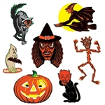 The Vintage Halloween Classic Cutouts are made of cardstock and printed on two sides. Sizes range in measurement from 9 1/2 inches to 16 inches. Contains 7 cutouts per package.