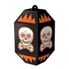 The Vintage Halloween Skull Paper Lanterns are made of cardstock and measure 7 inches tall and 3 1/2 inches wide. They're black and printed with a white skull with orange embellishments. Contains 3 per package. Simple assembly required.