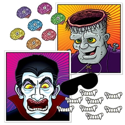 Looking for a way to entertain your young (or young at heart) Halloween party guests?  This Halloween Party Games for Kids is just the thing.  A variation on the classic Pin the Tail on the Donkey game, this set features vampires & monsters!