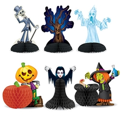 Add a fun, classic touch to your Halloween table decor!  These Halloween Character Centerpieces are fun, colorful and cute additions to your not too scary Halloween decorations.  Sold 6 per package, they're printed both sides on high quality cardstock.
