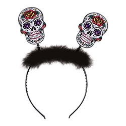 Put a Sugar Skull on your skull with these fun Day Of The Dead Sugar Skull Boppers!  The one-size-fits-most headband lets you show your Day of The Dead spirit where ever you go!  Skulls are 3 inches tall by 2 1/4 inches wide.