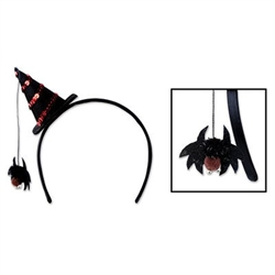 The Spider Witch Hat Headband is a standard black fabric covered headband with a black felt witch hat off to the side. The witch hat has red sequins in a spiral. Attached to the tip is a string with a spider which hangs down. One per package. No returns.