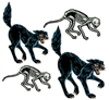 Set a classic Halloween decor with this set of four Vintage Halloween Jointed Cats.  This set includes two classic black cats and two skeleton cats.  All are fully jointed so you can pose them as you like.  Printed one side on high quality cardstock.