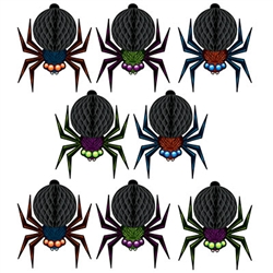Add a little creepy to your Halloween decorations with these Mini Tissue Spiders!    The can be use as a hanging decoration with the included cord or as centerpieces - it's up to you.  Printed both sides in vibrant color they're completely assembled