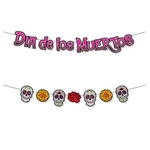 This vibrantly colorful Dia De Los Muertos Streamer Set gives you twice the decorating options!  Each package includes hangers to spell out Dia De Los Muertos  or a set of sugar skulls and roses.  You decide which fits your party decor best!
