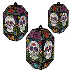 Create a classic Day Of The Dead decor with these Foil Day Of The Dead Paper Lanterns.  Vibrant in traditional colors, they'll add a touch of the mysterious to your celebration.  Printed in full color on high quality cardstock.  3/package