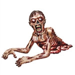 Use this Jointed Zombie Crawler to terrify your guests. Each Jointed Zombie Crawler measures over 4 feet long, is printed on one side and made of cardstock material. Simply tape it to your door or wall and let the fright begin! One crawler per package.