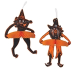 Originally created in 1929, this Vintage Halloween Tango Witch & Cat set is sure to add classic fun to your next Halloween party!  Each package comes with a cat and witch, both printed both sides on high quality cardstock and opening full round.