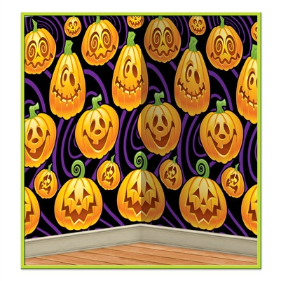 Jack-O-Lantern Backdrop - This high quality, finely printed and bargain priced backdrop transforms any room into a real pumpkin patch of spookiness!