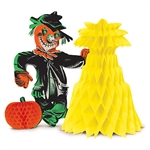 "Vintage Halloween Scarecrow Centerpiece - Halloween fun for your table top!  This Vintage Halloween Scarecrow Centerpiece is reproduced from the original 1959 design.  The centerpiece stands 10.75"" tall and open full round.  No assembly necessary!"
