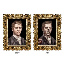 The Lenticular Zombie Portrait Cutout measures 15 3/4 inches tall and 12 inches wide. It looks like its a portrait of a handsome man but if you look at it from a slightly different angle it transforms into an eerie zombie. One per package.