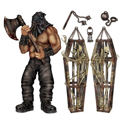 The executioner is here and that means one thing; you now have an awesome Halloween wall scene! Amuse yourself by giving your guests a scary welcoming by having them be greeted into a room by the Executioner and Skeleton Props! Six pieces per package.
