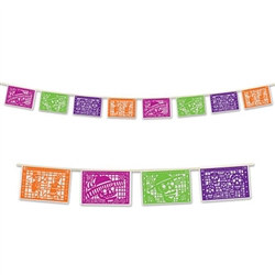 The Day of the Dead Picado Banner measures twelve feet in length and features plastic panels in alternating fuchsia, green, purple and orange colors.
