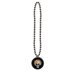 Day of the Dead Necklace with Sticker Medallion