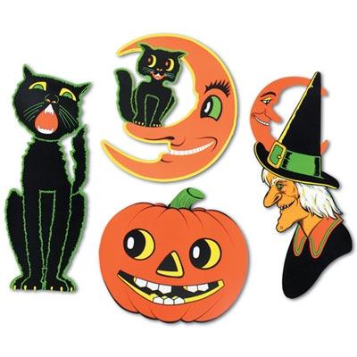 Retro Vintage Halloween Clip Art.Retro Vintage Halloween Cutouts 4 Pkg