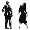 Add these black and white zombie silhouettes to your party. Printed on both sides of cardstock material, one zombie is a man extending his arm to get you and the other is a woman with her leg bone showing coming for you! Comes two silhouettes per package.