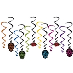 "This 12 piece set of Day Of The Dead Whirls are just the thing to top off your Day of the Dead party decorations.  Comes with 6 17.5"" hangers in vibrant colors and 6 35"" long black streamers with Skull and rose danglers.  Easy to hang!"