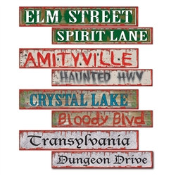 Halloween Street Sign Cutouts (4 Street Signs Per Package)