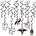 The Vintage Halloween Whirls are black metallic spiral whirls and (6) have cardstock icons of ghosts and bats attached to the end and (6) are plain. Sizes range from 17 1/2 inches to 29 1/2 inches. Contains twelve (12) whirls per package.