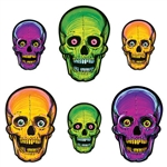 Go vintage with these classic Nite-Glow Skull cutouts.  Reproduced from an original 1973 design, each package has six glow in the dark cutouts printed both sides.