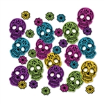 This Day Of The Dead Deluxe Sparkle Confetti is a fun and interesting way to add sparkle and color to your Day Of The Dead celebration.  Each 2.25 inch tall skull and 0.8625 inch tall flower is bright spot of color, style, and fun for your decor.