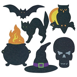 Halloween Silhouettes feature a package of 6 traditional Halloween characters, such as cauldron, witch hat, bat, black cat, skeleton, and owl. Prismatic, glittery look on one side and non-prismatic on the back. 8.75 inches to 12.5 inches card stock icons.
