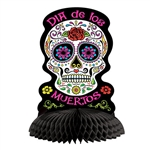 Add classic sugar skull style to your Dia De Los Muertos celebration.  This Day Of The Dead Centerpiece is an easy way to add color and interest to your tables or display.  Sold one per package, stands 10.75 inches tall, opens full round.