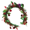 The Holiday Tinsel Garland Headband adds a festive touch to any holiday outfit. Red and green metallic fringe is accented with miniature assorted color metallic colored Christmas balls. Once side fits most. No returns accepted.