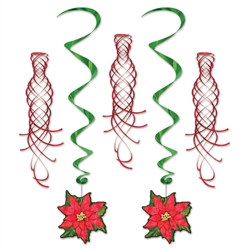 Poinsettia Whirls and Red Shimmers (5/pkg)