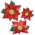 The Poinsettia Paper Flowers are made of cardstock. They're red with a gold glitter center and green leaves. One measures 12 1/2 inches, one measures 14 1/4 inches, and one measures 17 inches. Contains (3) per package. Simple assembly required.