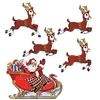 The Vintage Christmas Santa & Sleigh Cutouts are made of cardstock and printed on two sides. Includes one Santa in his sleigh and four reindeer's. Sizes range in measurement from 10 3/4 in to 17 3/4 in. Contains five (5) pieces per package.